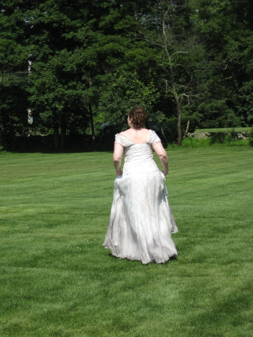 No, she's not running away - I just took the opportunity to get a shot of the back!